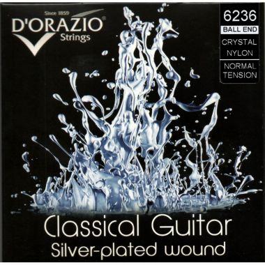 D´Orazio Crystal 6236 nylon normal s kuličkou, stříbřené pro klasickou kytaru