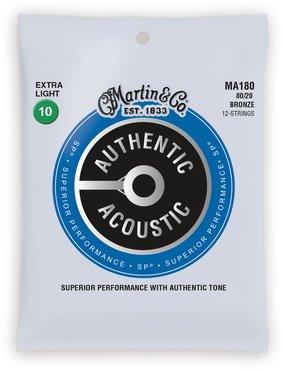 Martin MA 180 struny na 12 kytaru  Authentic SP 80/20 Bronze 12-String Extra Light