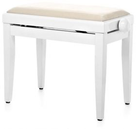 Stolička klavírní Pecka PPB-016 WM Beethovenka bílý mat/bílý sedák